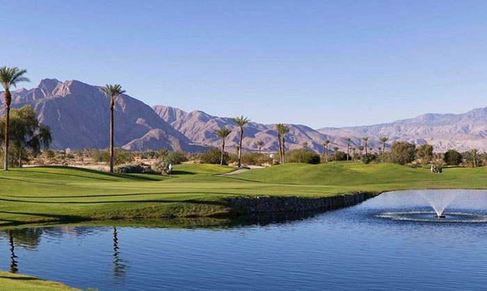 A view of a green with water coming into play at Borrego Springs Resort Golf Club & Spa